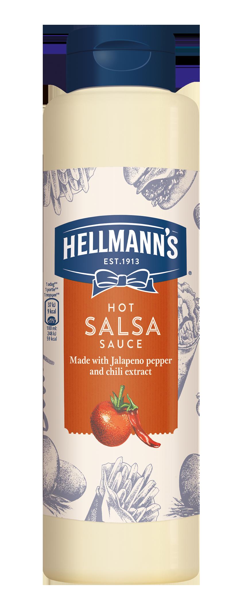 HELLMANN'S Csípős Salsa szósz 850 ml -  Minőségi márkájú termék felszolgálása pozitív benyomást kelt a vendégekben.