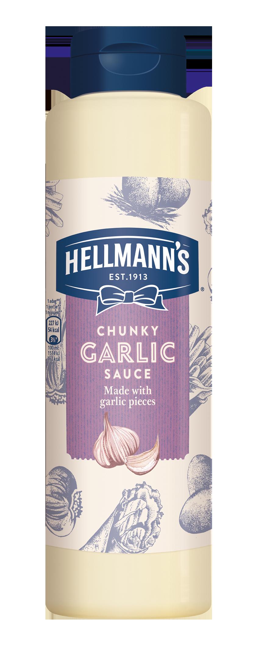 HELLMANN'S Fokhagymás szósz 850ml -  Minőségi márkájú termék felszolgálása pozitív benyomást kelt a vendégekben.