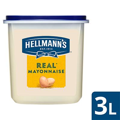 Hellmann's Real Mayonnaise Tub 3L - Hellmann's Real Mayonnaise, dengan rasa lezat yang seimbang dan tekstur creamy yang pas, pilihan terbaik untuk masakan Anda!