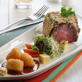 Roasted Beef with Raisin Sauce and Flavoured Butter