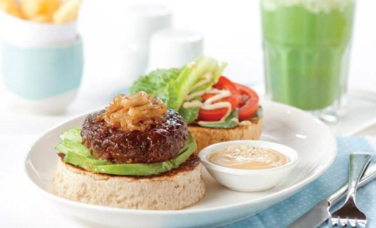 Beef Teriyaki-Glazed Burger With Toasted Sesame Mayonnaise