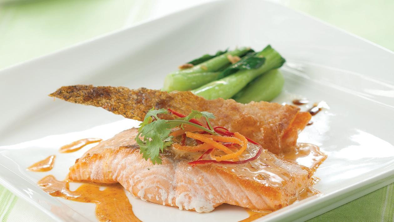 Panfried Salmon Crispy Skin, Stirfried Baby Bokchoy and Spicy Curry Mayo