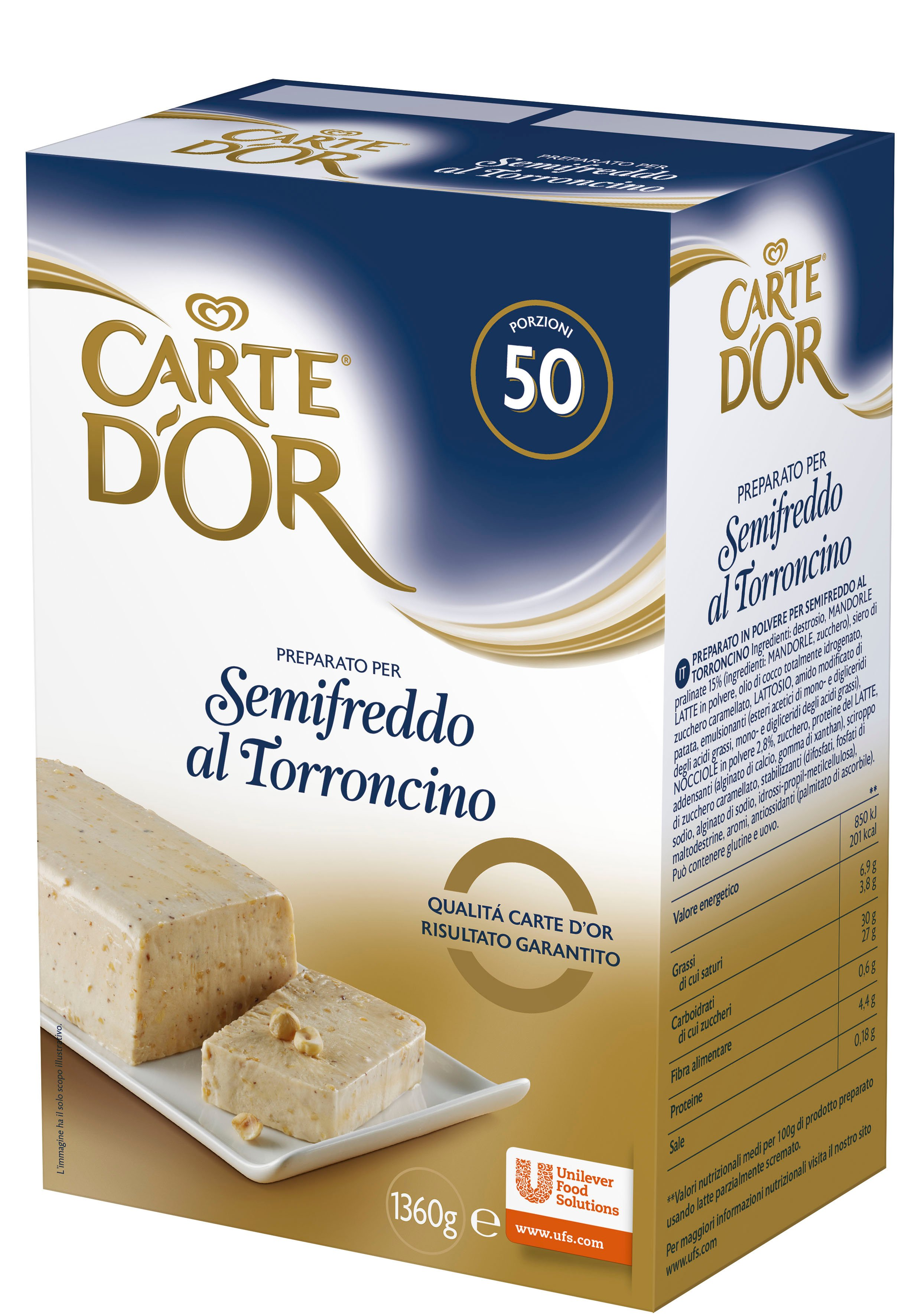 Carte d'Or preparato per Semifreddo al Torroncino 1,36 Kg -