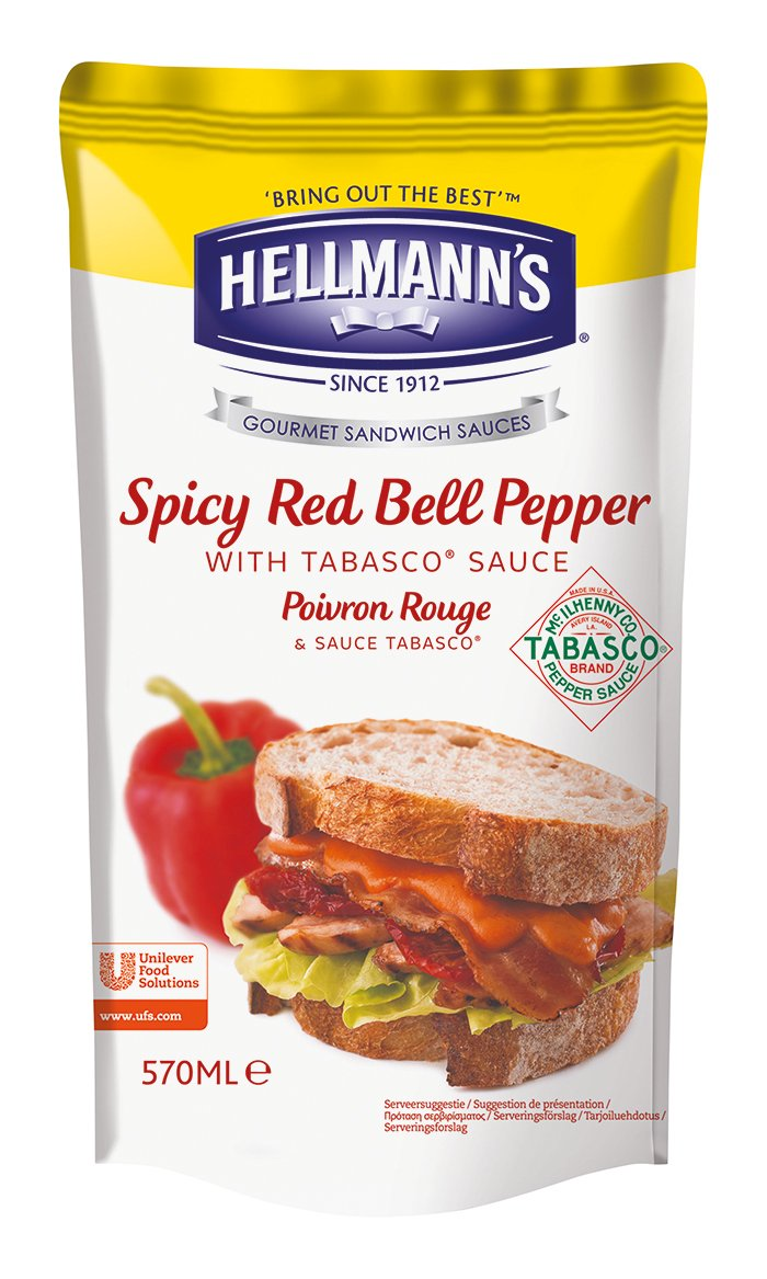 Hellmann's Gourmet Sandwich Sauce Spicy Red Bell Pepper with Tabasco Sauce - Peperone rosso piccante 570 ml -