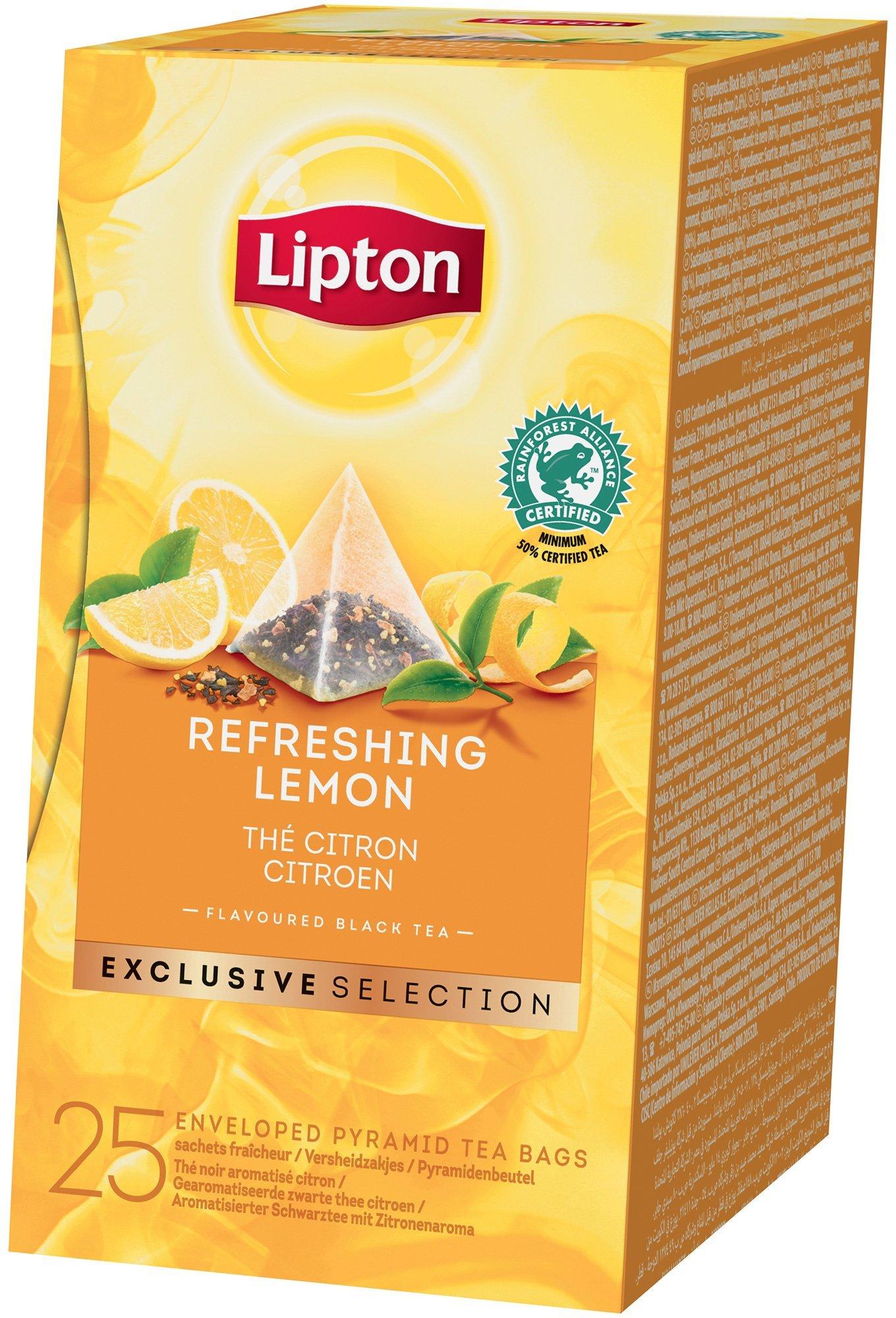 Lipton Pyramid Refreshing Lemon Flavoured Black Tea 25 Filtri