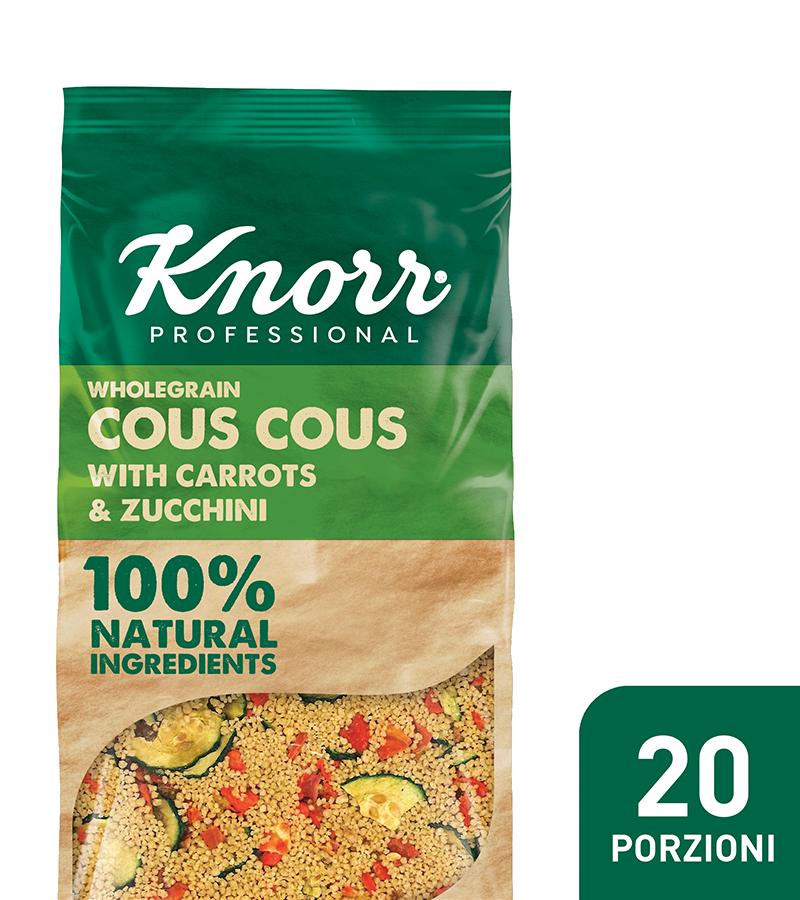 Cous cous con zucchine e carote - I nuovi Smartfood di Knorr Professional sono 100% naturali e permettono di creare con facilità piatti nutrienti ed equilibrati.