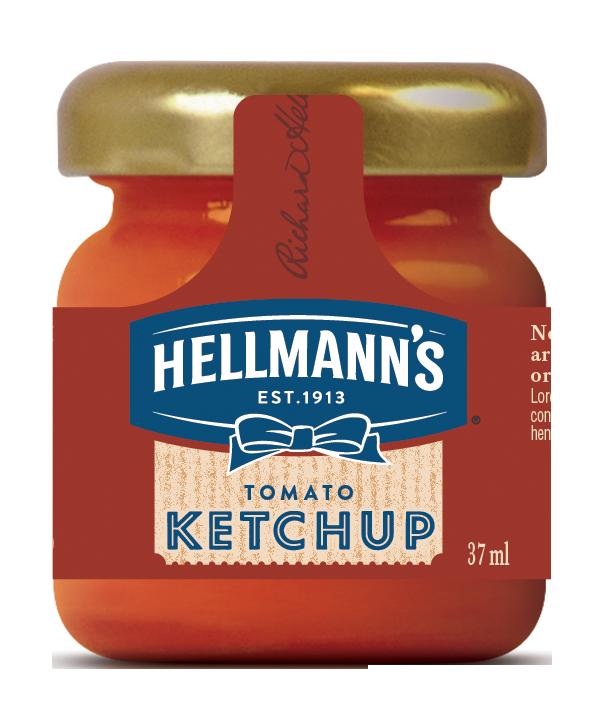 Hellmann's Tomato Ketchup Monodose in vetro 33 ml - Hellmann's monodosi in vetro: qualità superiore per rendere speciale l'esperienza dei tuoi clienti