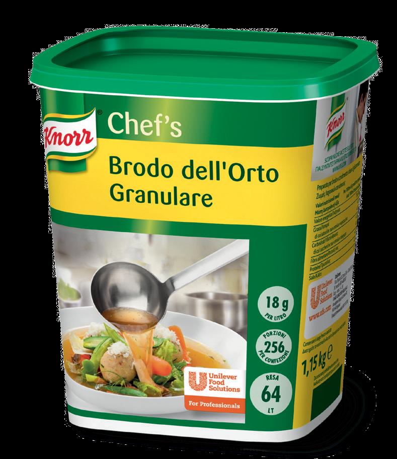 Knorr Brodo dell'Orto Granulare 1,15 Kg - Il gusto equilibrato, la presenza visibile di pezzi di verdure selezionate e la solubilità perfetta rendono il Brodo dell'Orto Knorr il brodo di verdure preferito dagli Chef*.