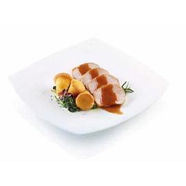 Arrosto di maiale con contorno di spinaci e flan di patate