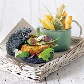 Burger vegetariano e verdure in tempura
