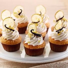Cup cake al limone, con mandorle, vaniglia e limone candito