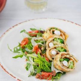 Omelette con broccoli, brie e pepe arlecchino