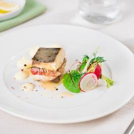 Sandwich di ricciola con gamberi rossi e purè di patate al limone