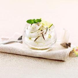 Sorbetto al limone, tè verde e menta