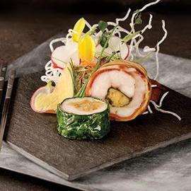 Sushi di pancetta di maialino con salsa BBQ