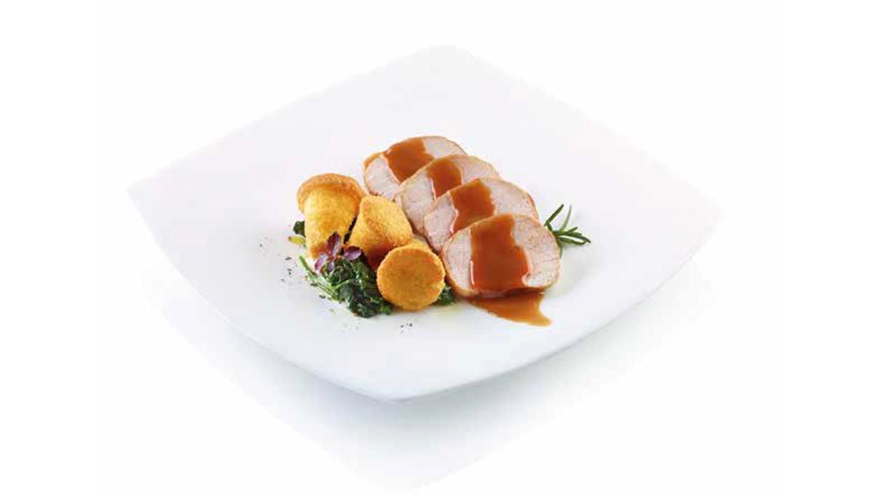 Arrosto di maiale con contorno di spinaci e flan di patate – Ricetta