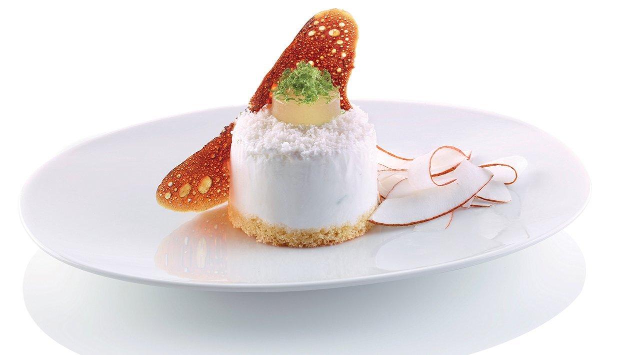 bavarese al cocco, gelée di lime e croccante al caramello – Ricetta