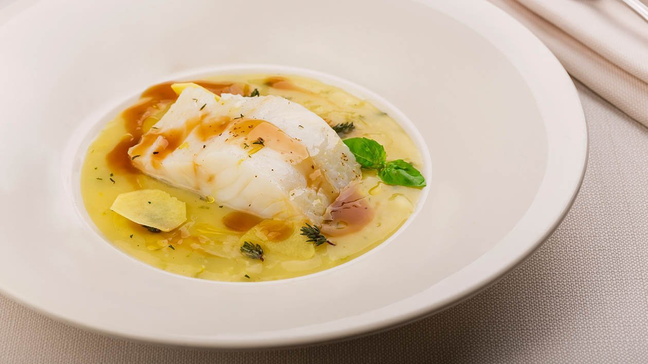 crema di porri e patate allo zenzero con merluzzo brasato al timo – Ricetta