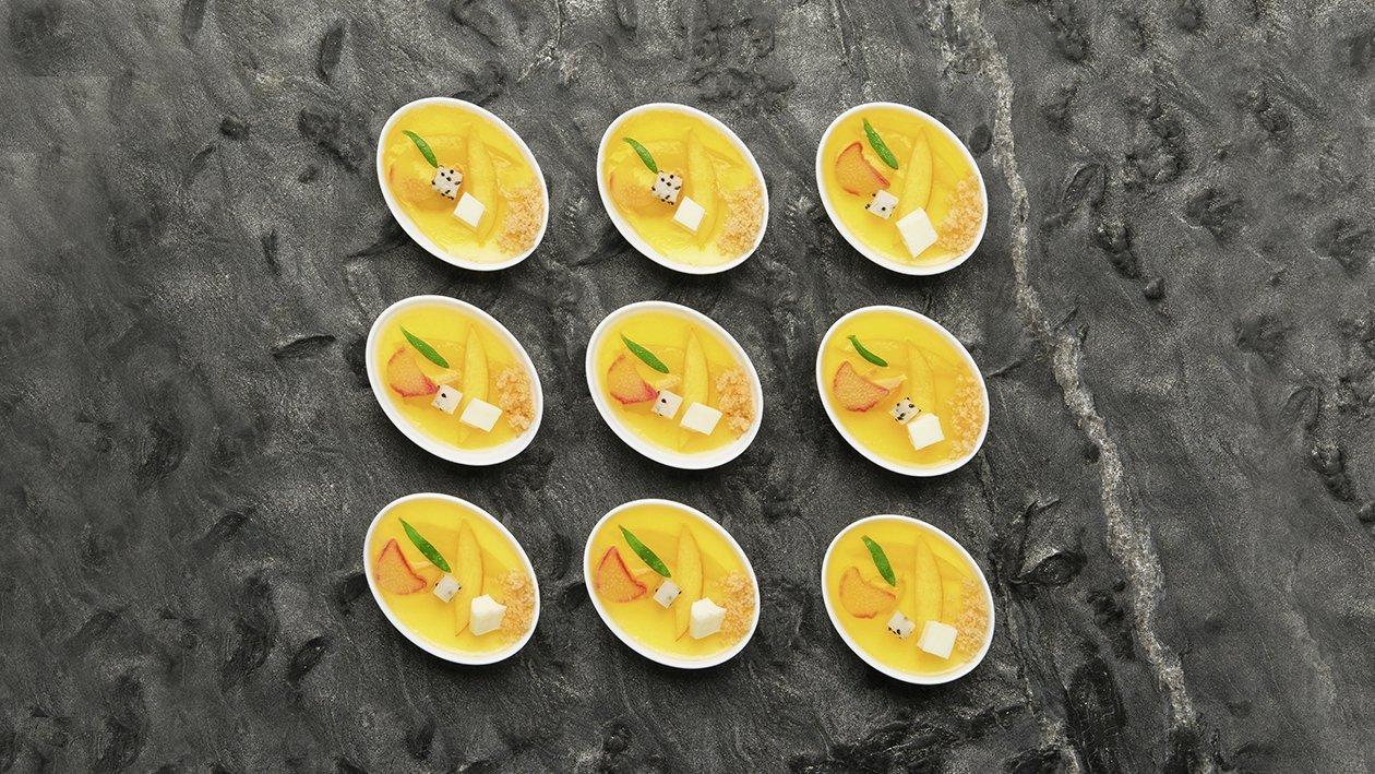 Finger di panna cotta al lemongrass e trasparenza di pesche al vino e rabarbaro – Ricetta