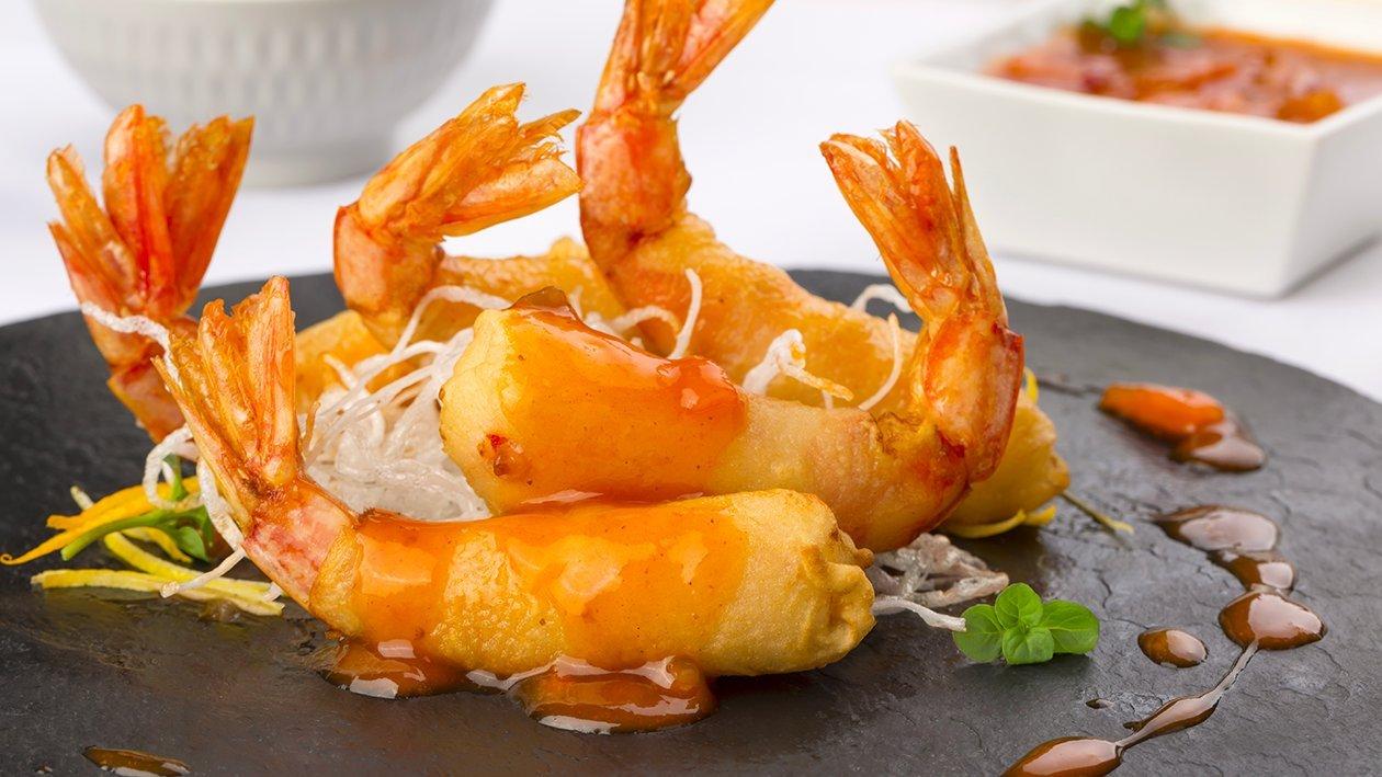 Gamberoni in tempura all'arancia in salsa agrodolce – Ricetta