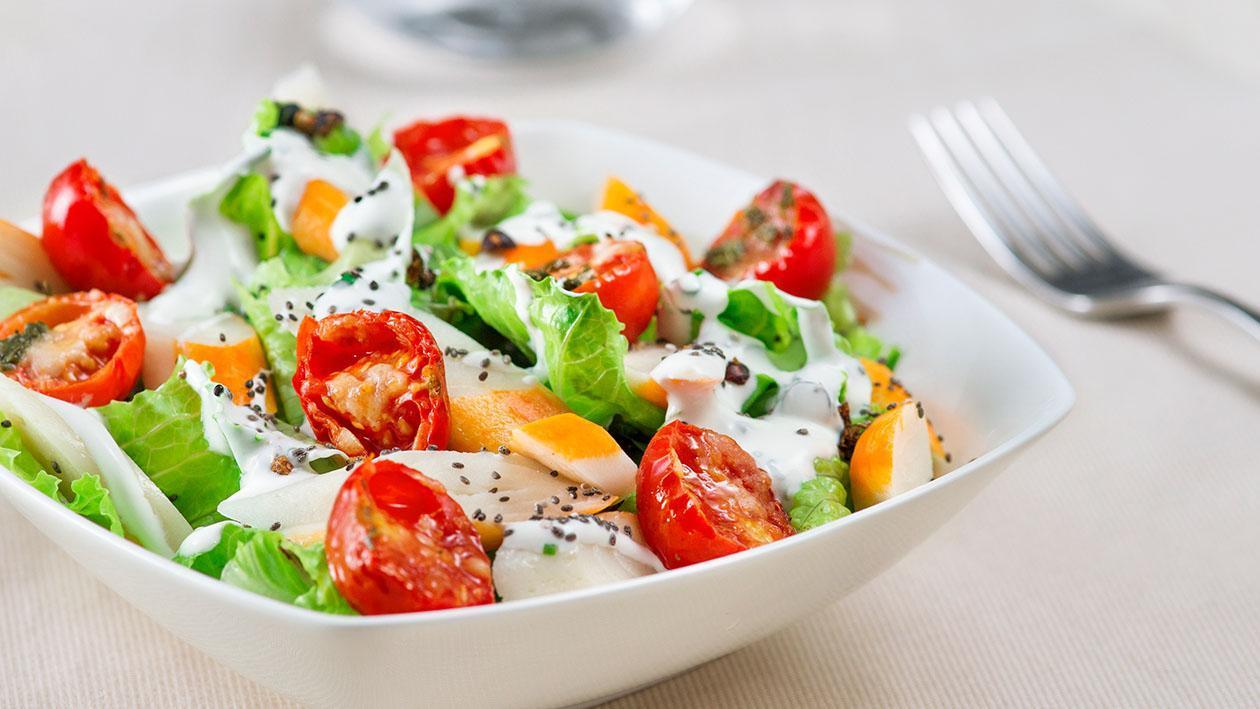 Insalatina croccante di lattuga, polpa di granchio, dressing allo yogurt greco e semi di chia – Ricetta