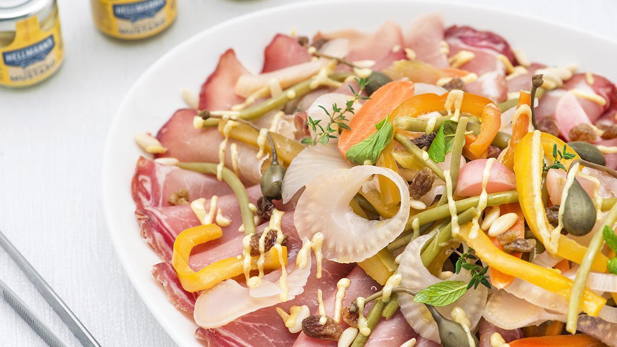 Lombo di maiale con verdure in carpione, capperi, uvetta e pinoli – Ricetta