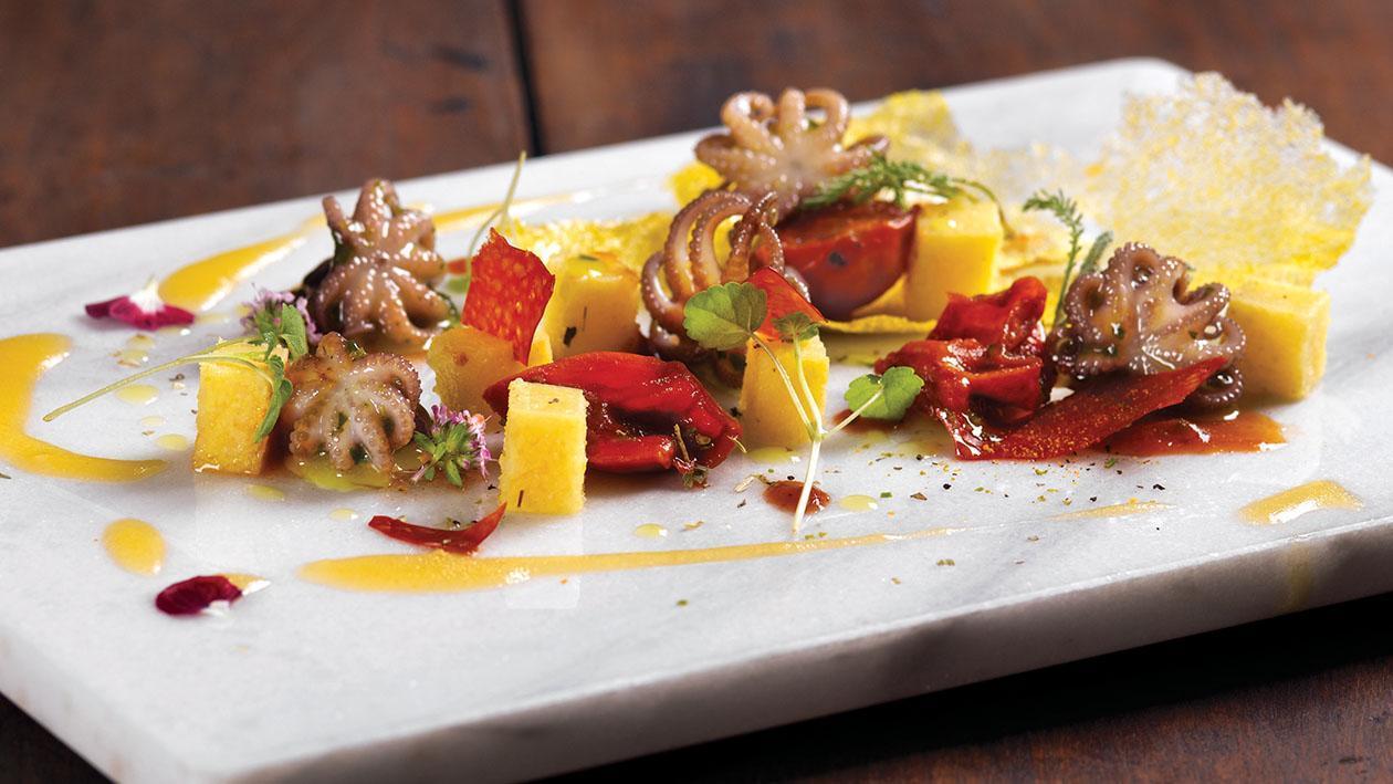 Moscardino cotto in umido con polenta e gremolada di spezie – Ricetta