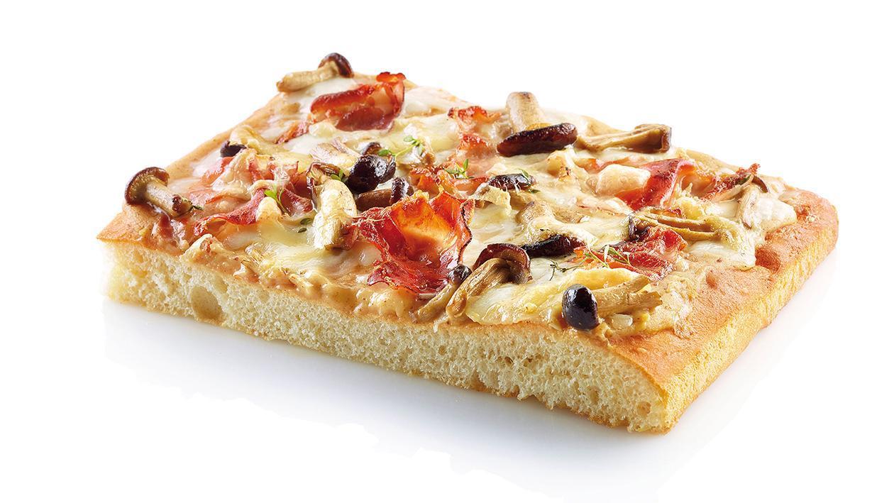 Pizza speck e funghi con salsa senape e miele – Ricetta