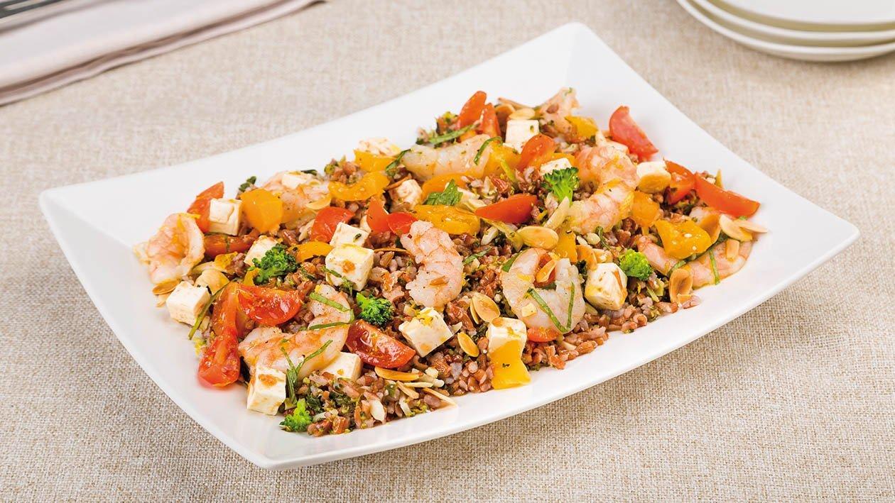 riso rosso con broccoli, feta, gamberi, pomodorini gialli, mandorle e limone – Ricetta
