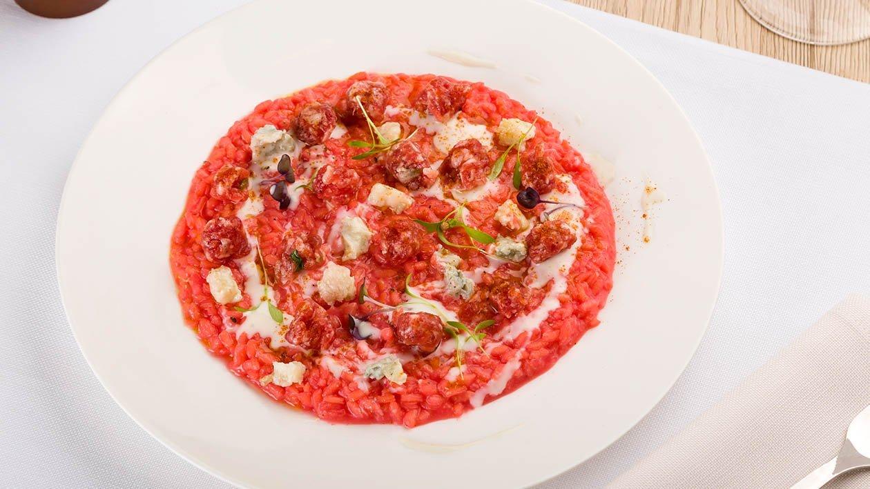 risotto alla barbabietola con salsiccia di Brà e gorgonzola – Ricetta