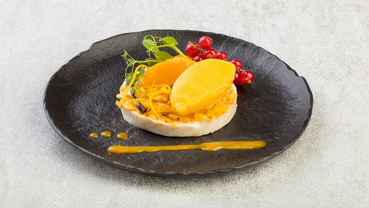 Sorbetto al mango con buccia d'arancia, corn flakes e crunchy al cioccolato bianco – Ricetta