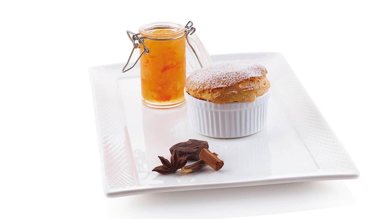 soufflé all'arancia con cuore fondente e composta alla grappa – Ricetta