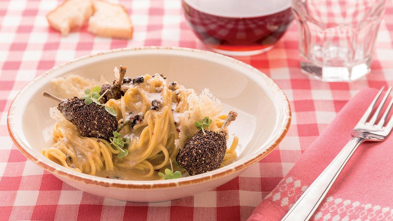 Tagarin cacio e pepe con coscette di quaglia ai semi di chia – Ricetta