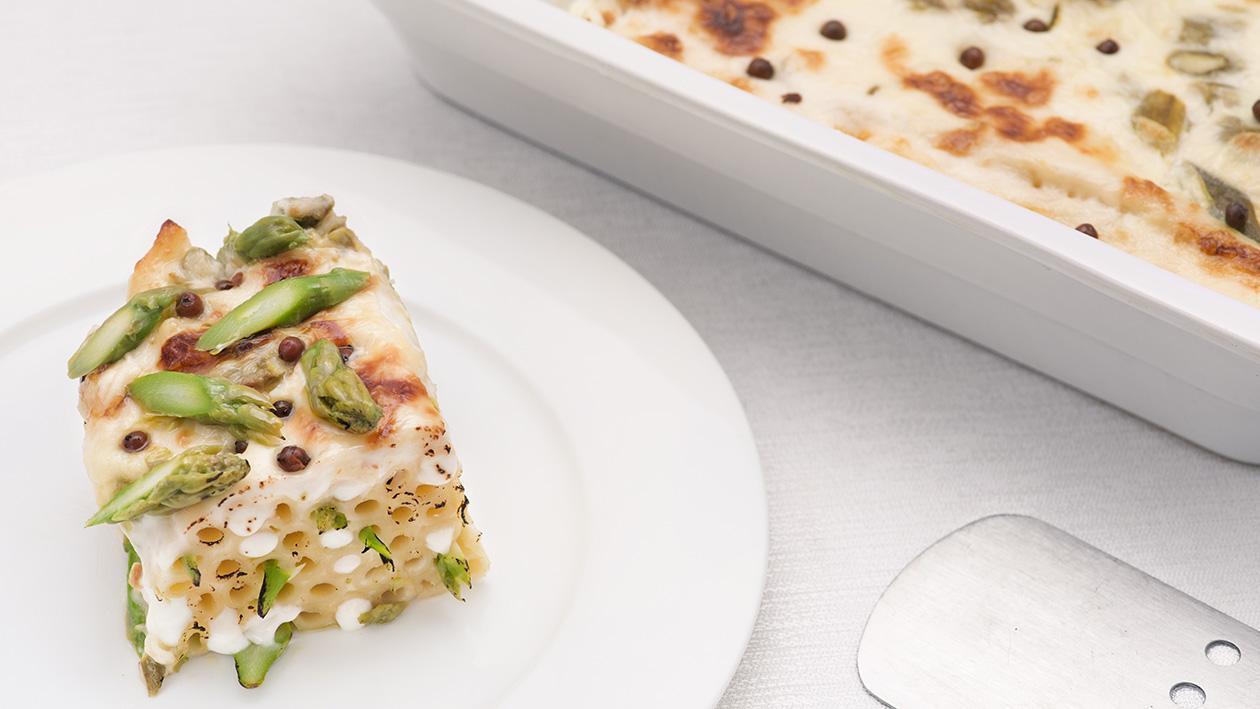 Timballo di ziti con asparagi, taleggio e salsa bianca al pepe rosa – Ricetta