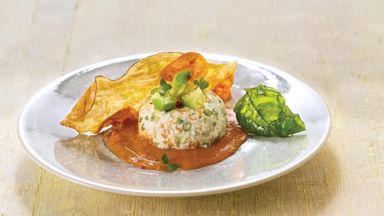 Tortino ripieno di verdure e formaggio di riso erborinato su crema di fagioli borlotti e senape – Ricetta