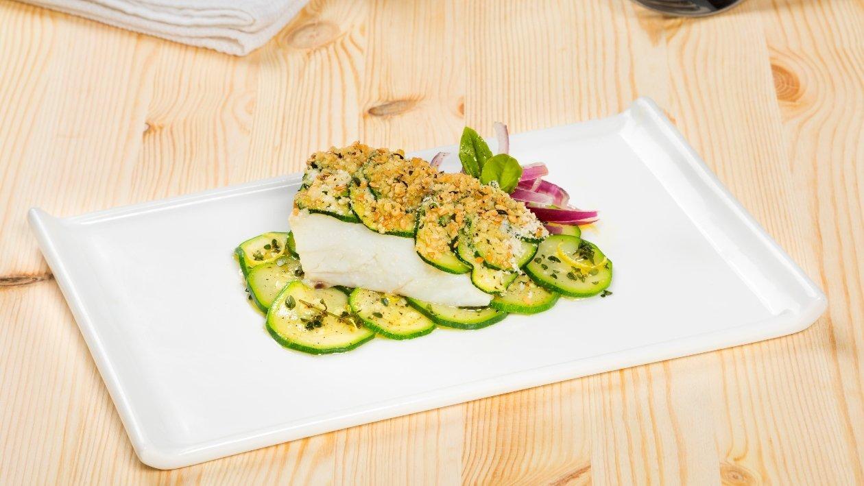 Trancio di merluzzo con zucchine alla mediterranea – Ricetta