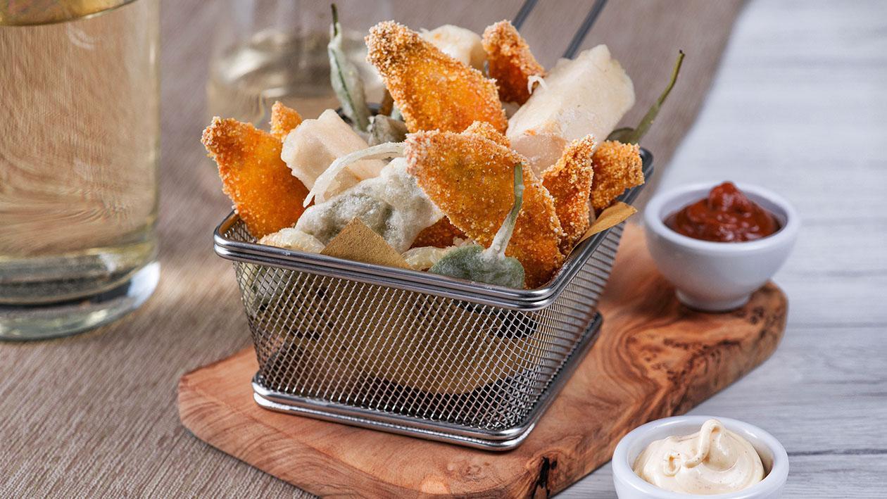 Triglie fritte in polenta con tofu in tempura – Ricetta