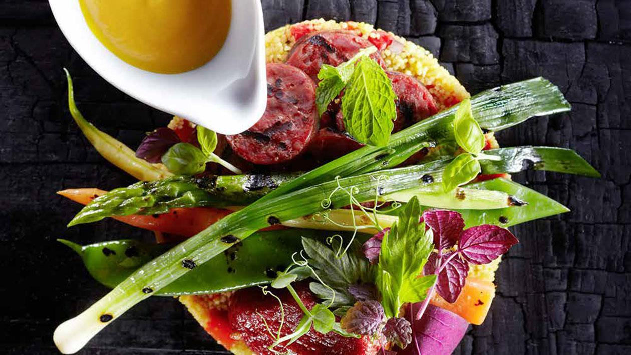 Verdure grigliate con chorizo e cous cous – Ricetta