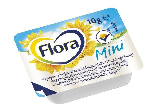 Flora Sumažinto riebalų kiekio margarinas 10 g -