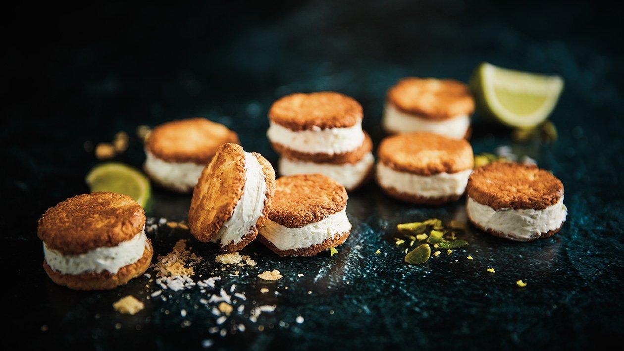 Kokosiniai sausainiai su saldžiarūgščiu žaliųjų citrinų kremu – Receptas