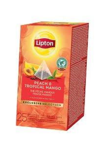 Lipton Melnā aromatizētā tēja ar mango un persiku gabaliņiem