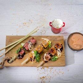 Yakitori izlase ar pikanto majonēzi un rīsiem