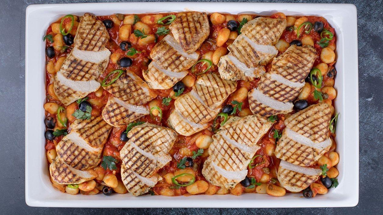 Grilēta vistas fileja ar Marinara mērci un Ņoki (Gnoochi) – Recepte