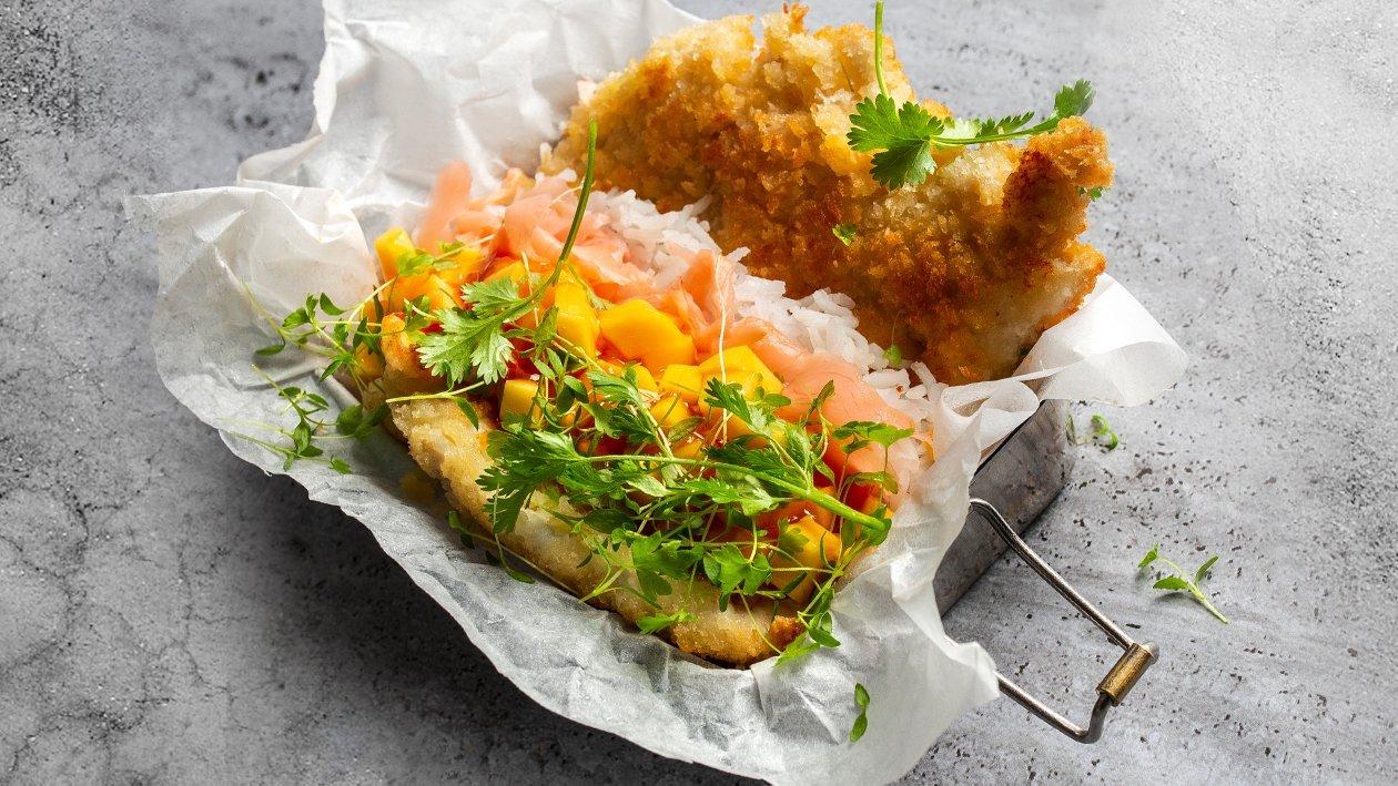 Rīvmaizē apviļāta vistas šnicele ar mango – Recepte