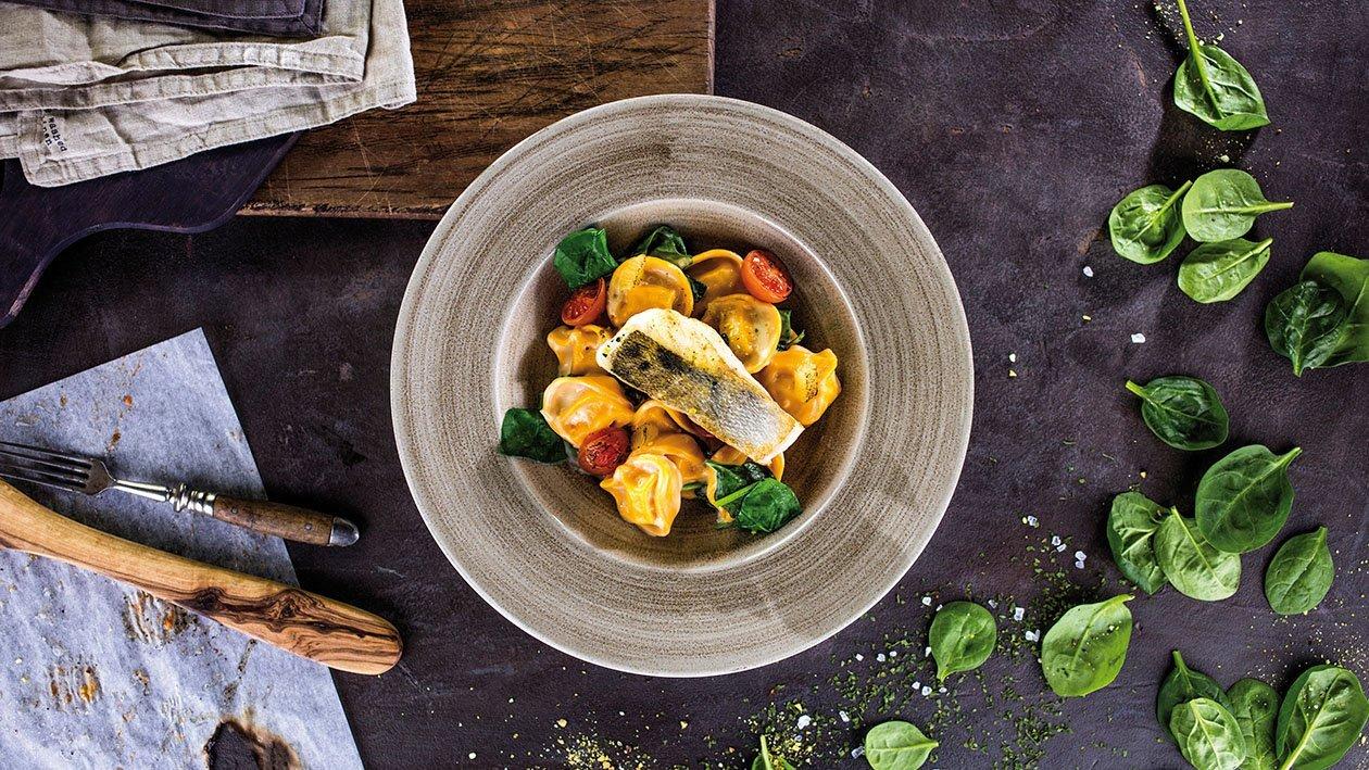 Tortellīni ar spinātiem un zandartu citronu mērcē – Recepte