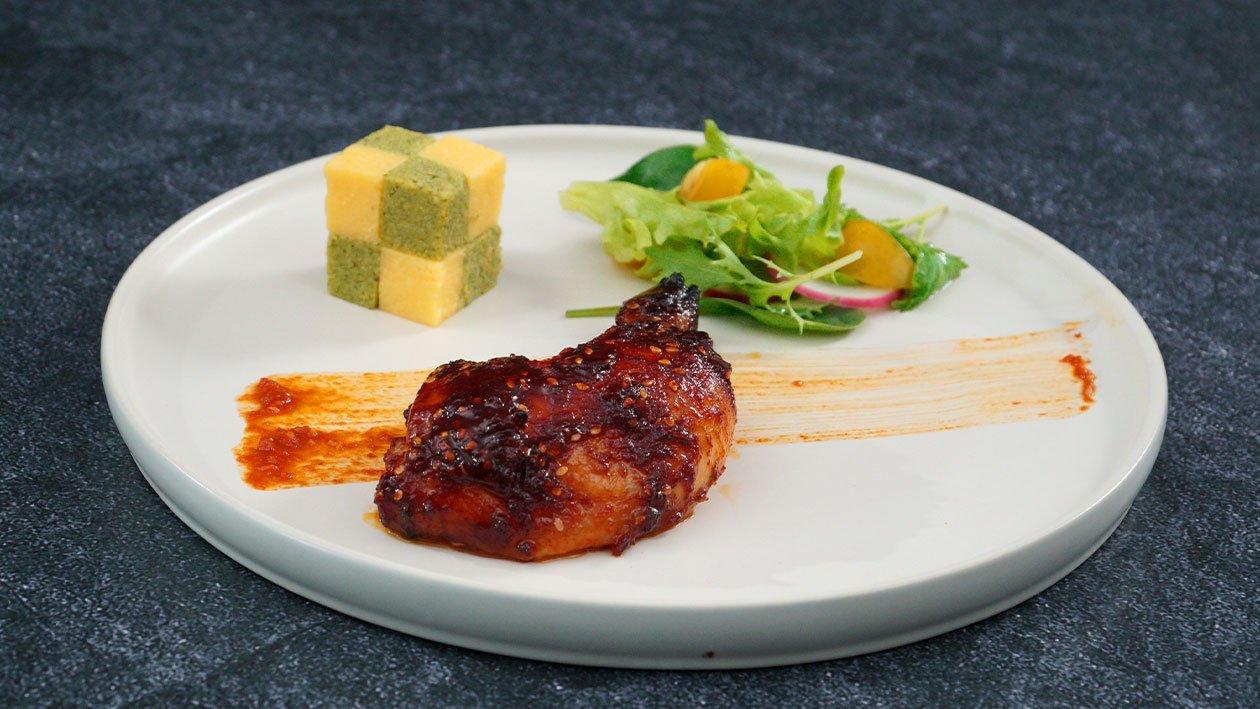 Ayam Bakar Gochujang dengan Polenta Ricotta dan Bayam