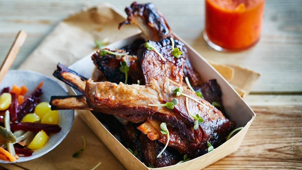 Lamb Spareribs with Pimento Mustard Dressing, Lime Pickled Vegetables