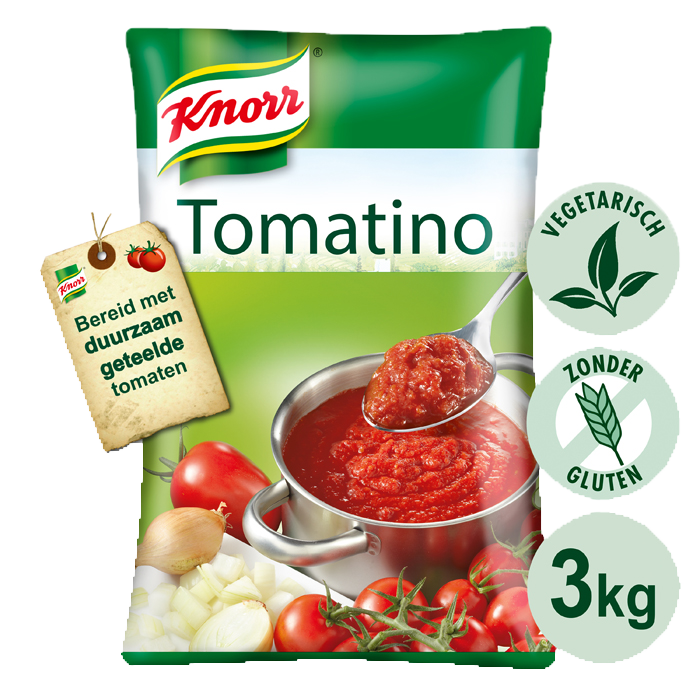 Knorr Collezione Italiana Tomatino Pouch  - Knorr Tomatino is bereid met zongerijpte Italiaanse tomaten.