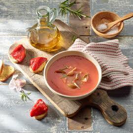 Toscaanse tomatensoep met gegrilde paprika
