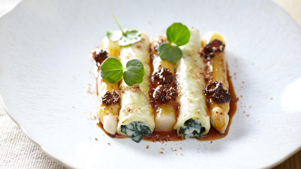 Cannelloni met asperges, spinazie en morilles